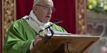 Pope Francis addresses summit participants at a Sunday mass.
