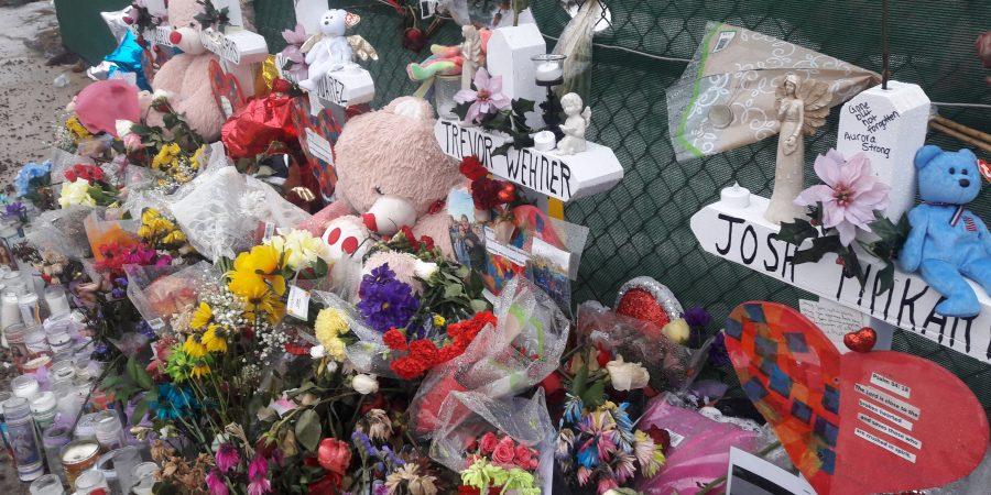 Memorial for Henry Pratt shooting victims.