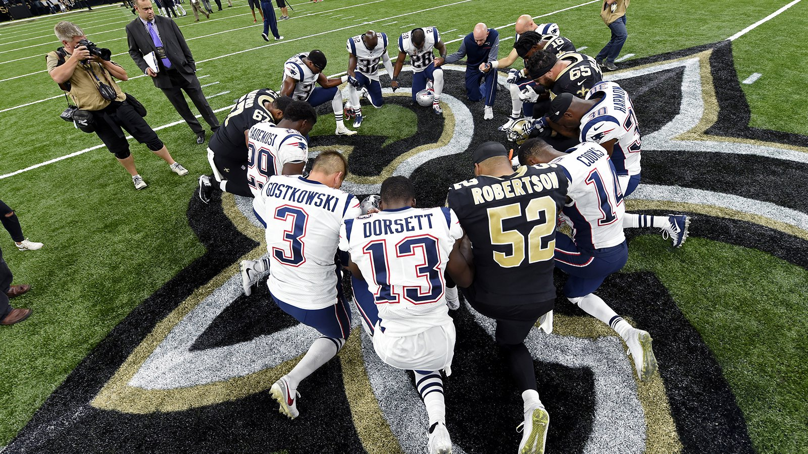 """Prayer after game Patriots """"character coach"""""""