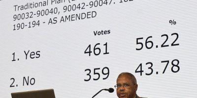 United Methodist vote on plans.
