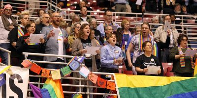 Vocal audience during passage of Traditional Plan at UMCGC.
