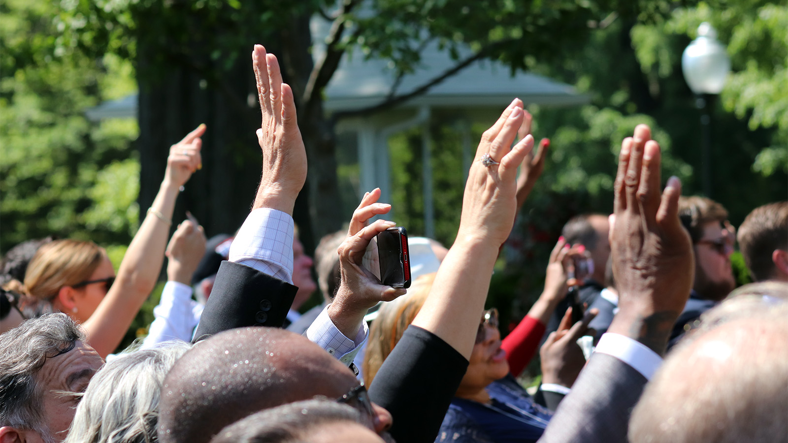 Raised hands at National Day of Prayer