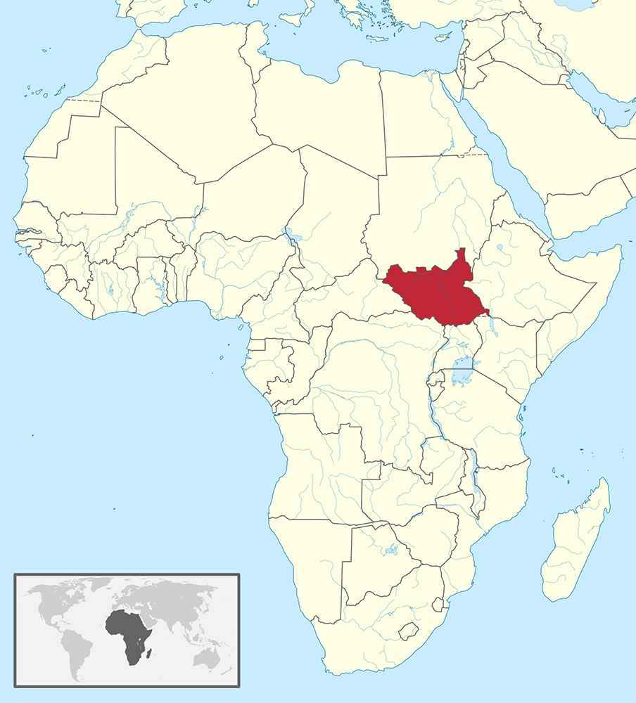 South Sudan on the map