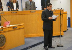 Pastor Oscar O. Cortes offers a prayer.