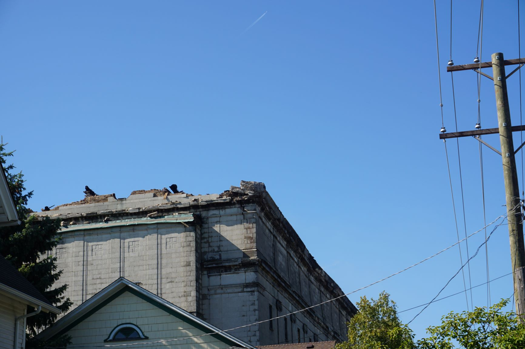 Structural damage to the Lincoln Masonic Temple.