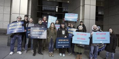 Chosen People Ministries protesting rising anti-Semitism.