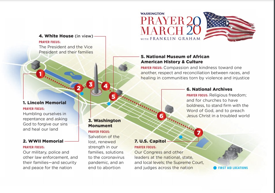Map of Prayer March 2020 in Washington, D.C.