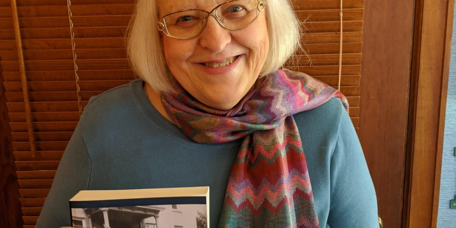 Susan L. Palmer with her new book