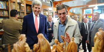 John Kerry in Bethlehem Manger Square